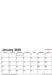 Template 1: Photo calendar 2020 for PDF, 12 pages, portrait format, standard layout
