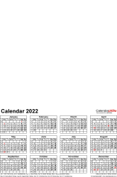 Download Template 4: Photo calendar 2022 for Microsoft Excel, 1 page, portrait format, whole year on one page