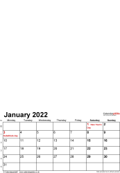 Template 1: Photo calendar 2022 for PDF, 12 pages, portrait format, standard layout