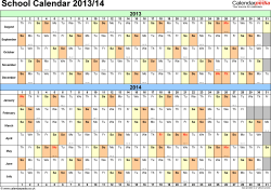Template 2: School year calendars 2013/14 as PDF template, landscape orientation, A4, 1 page, months horizontally, days vertically, with UK bank holidays and week numbers