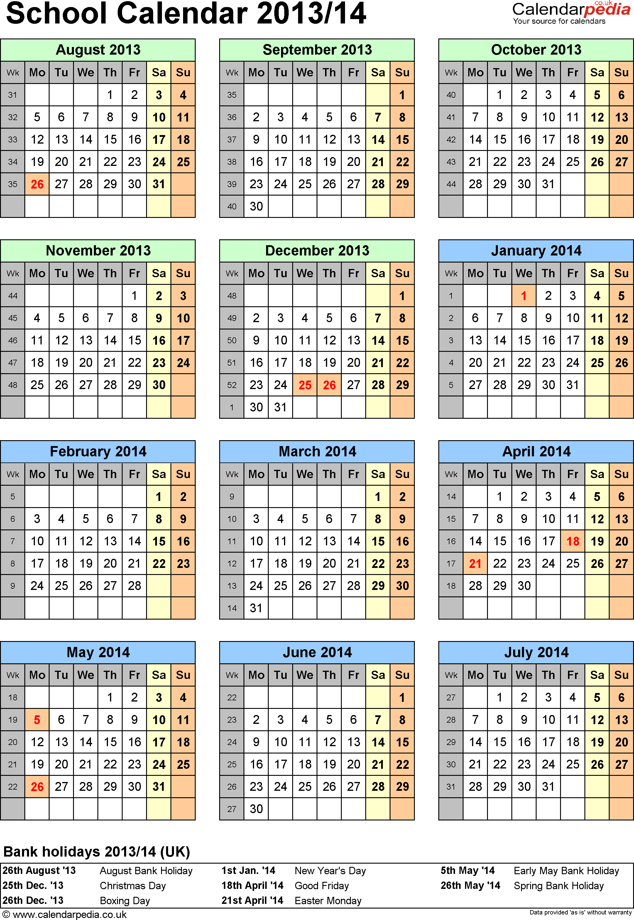 Template 5: School year calendars 2013/14 as PDF template, portrait orientation, one A4 page