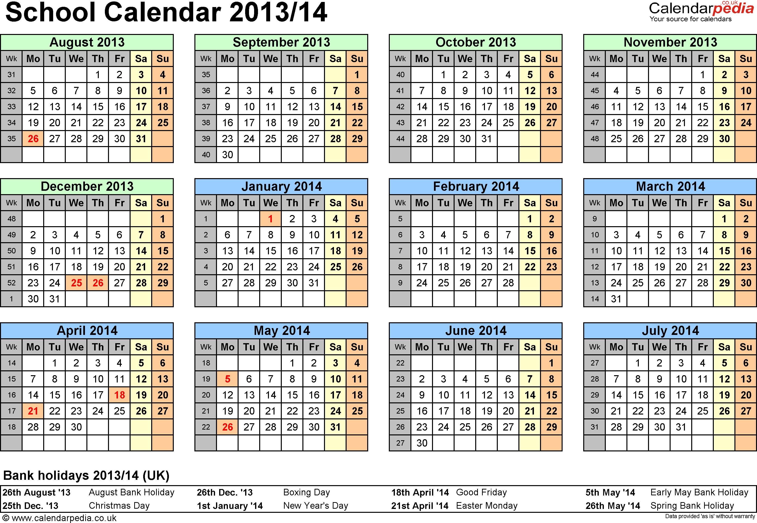 Template 4: School year calendars 2013/14 as PDF template, year at a glance, 1 page