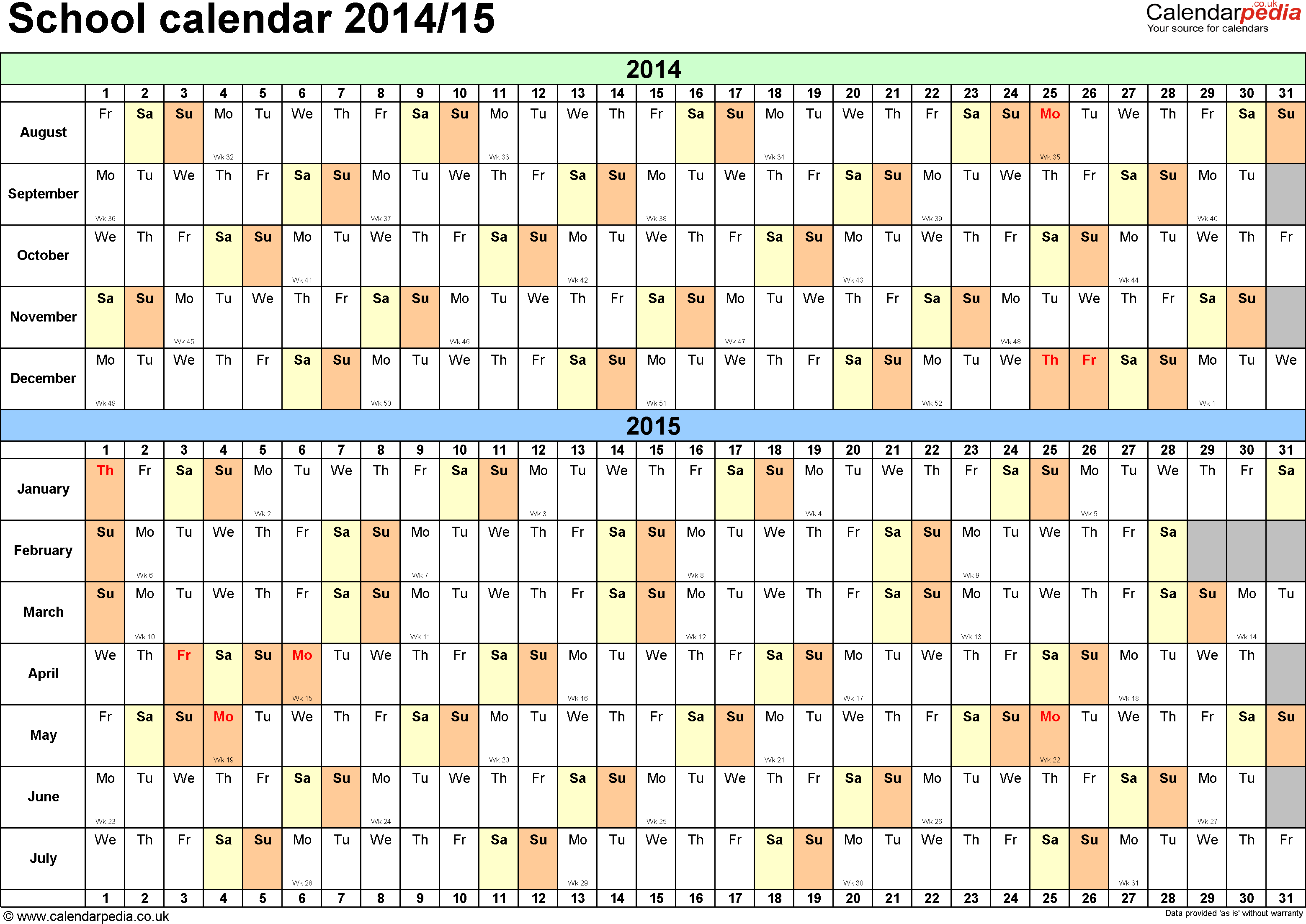 Template 2: School year calendars 2014/15 as Excel template, landscape orientation, A4, 1 page, months horizontally, days vertically, with UK bank holidays and week numbers