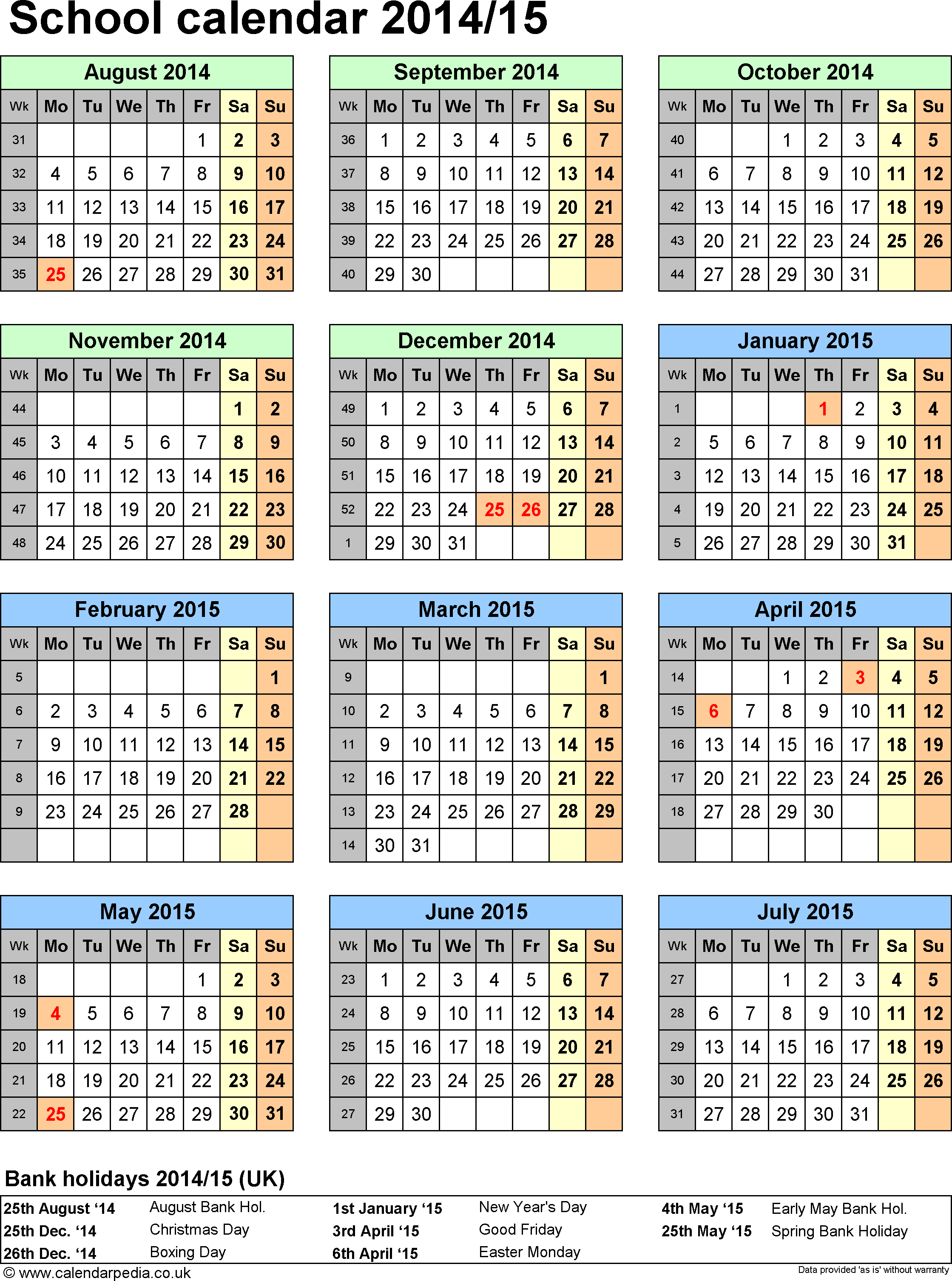 Template 5: School year calendars 2014/15 as Excel template, portrait orientation, one A4 page