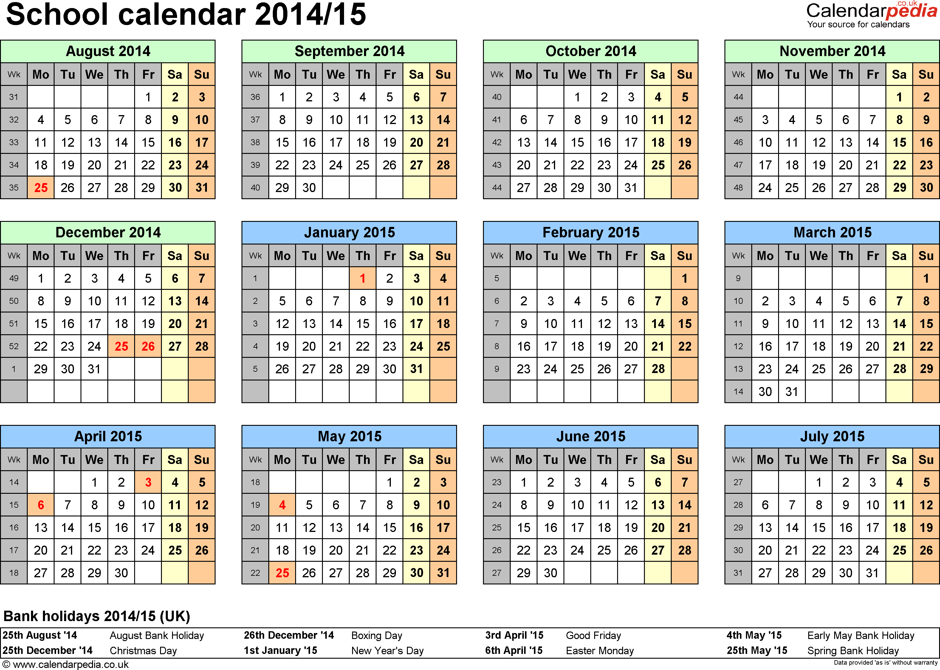 Template 4: School year calendars 2014/15 as Excel template, year at a glance, 1 page