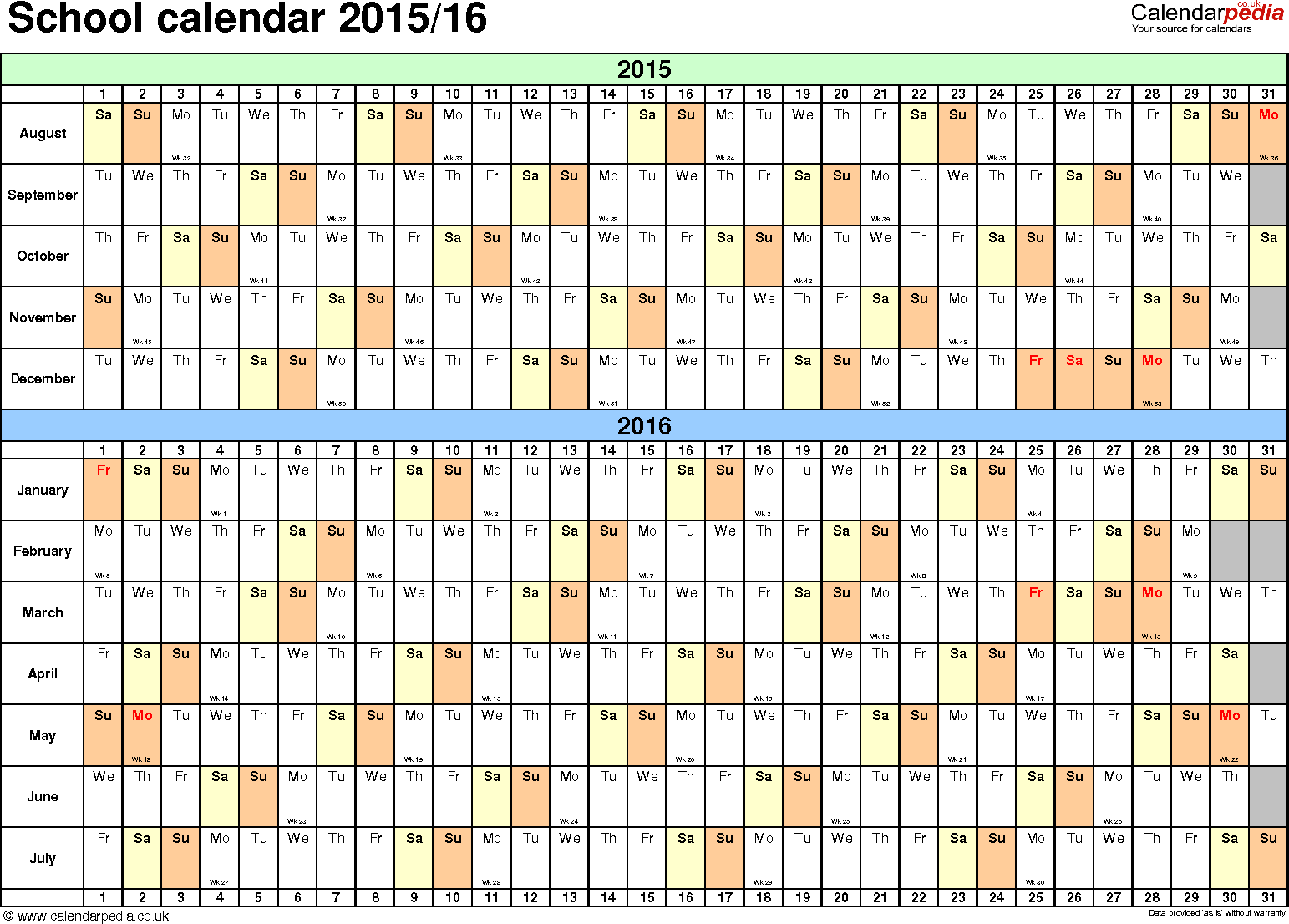 Template 2: School year calendars 2015/16 as PDF template, landscape orientation, A4, 1 page, months horizontally, days vertically, with UK bank holidays and week numbers