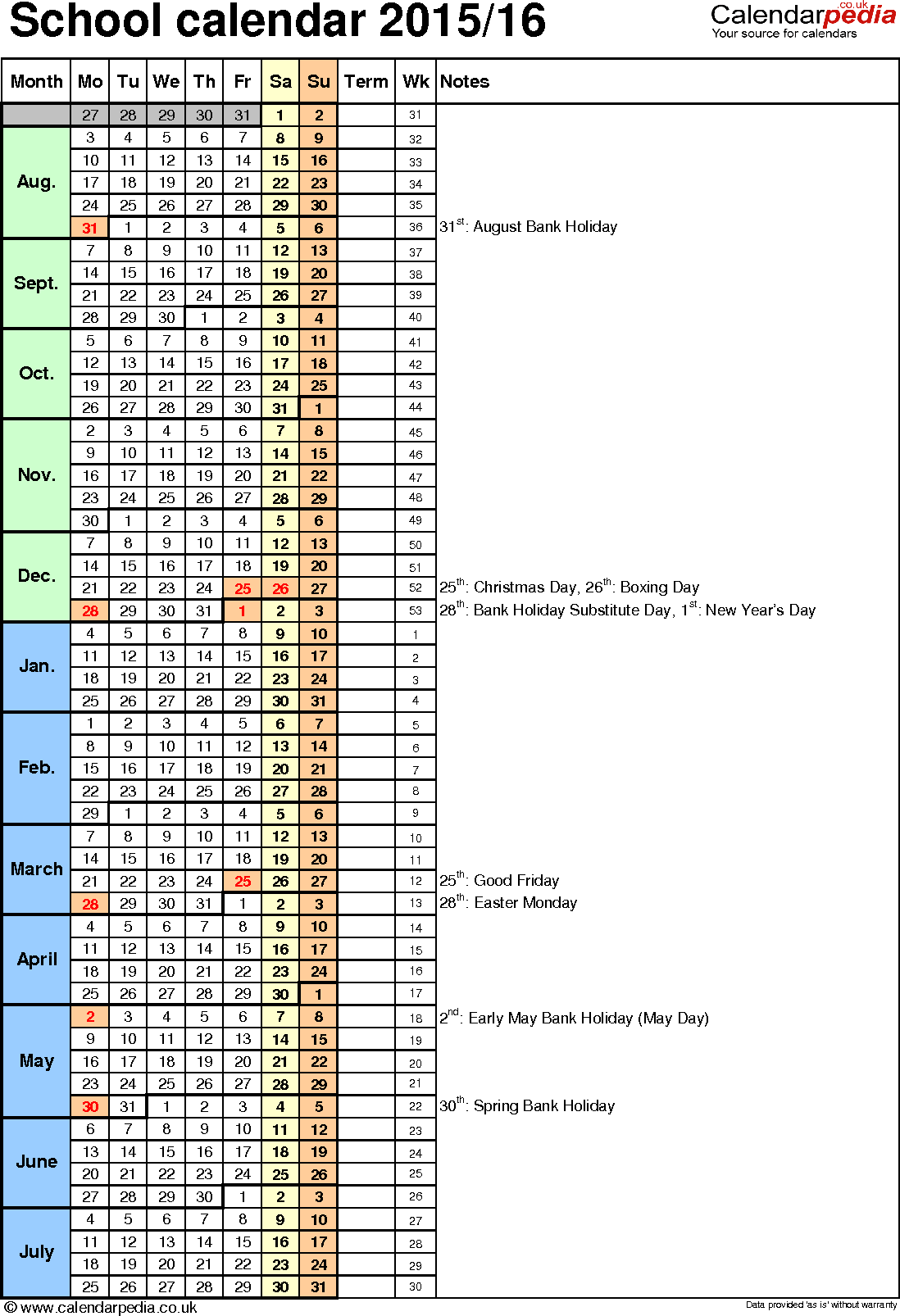 Template 7: School year calendars 2015/16 as Excel template, portrait orientation, 1 page, with UK bank holidays, days in continuous (rolling) layout