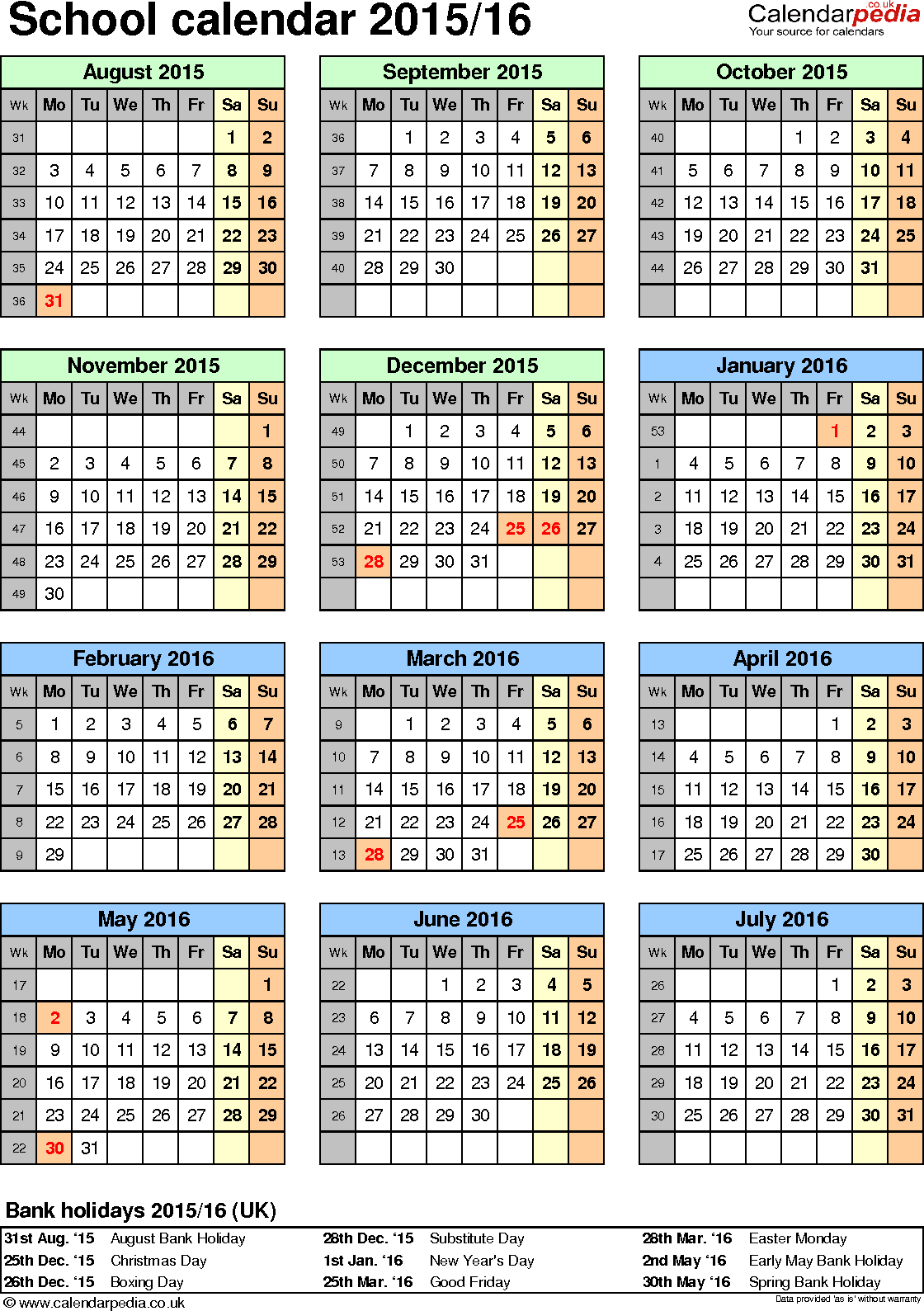 Template 5: School year calendars 2015/16 as Excel template, portrait orientation, one A4 page