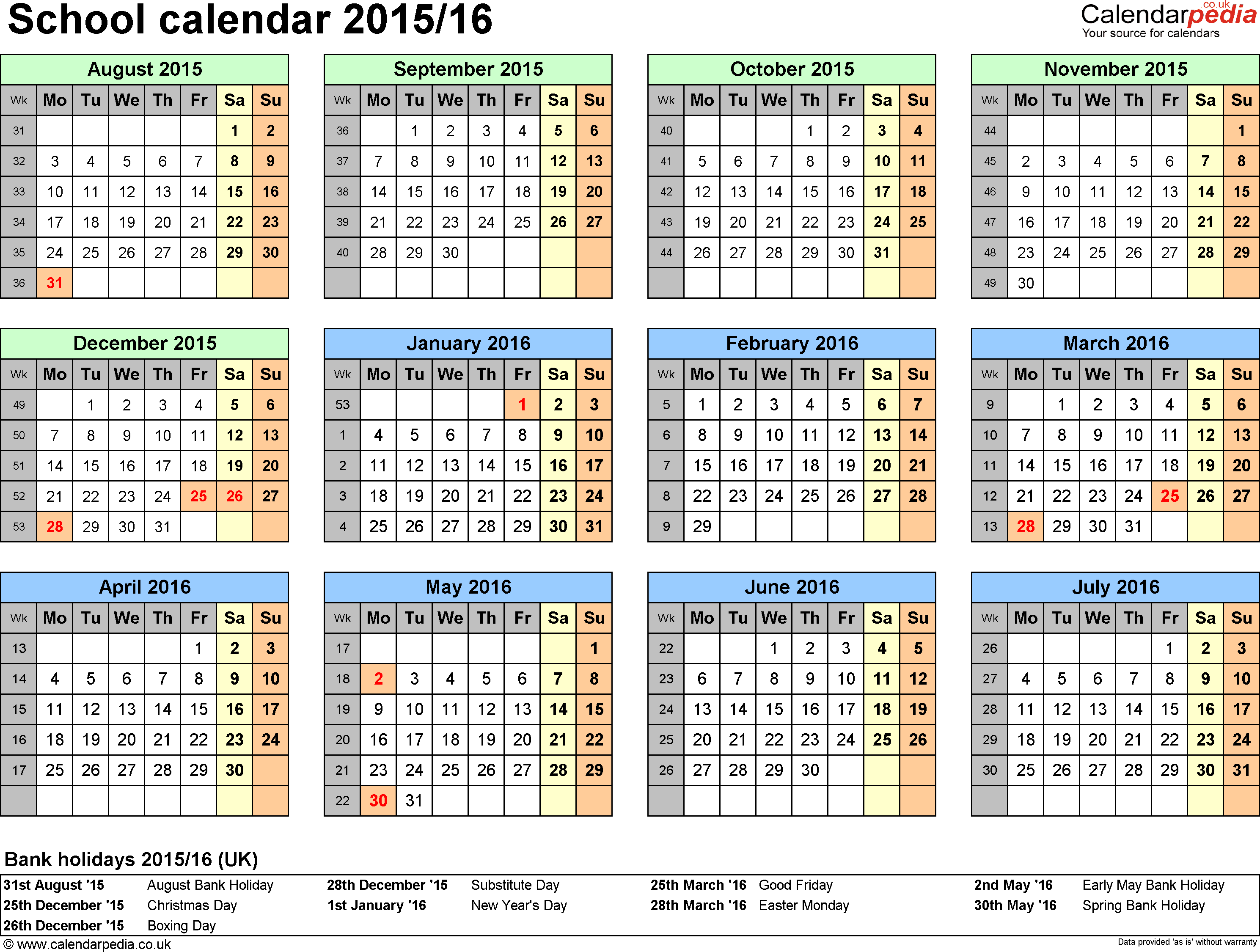 Template 4: School year calendars 2015/16 as PDF template, year at a glance, 1 page