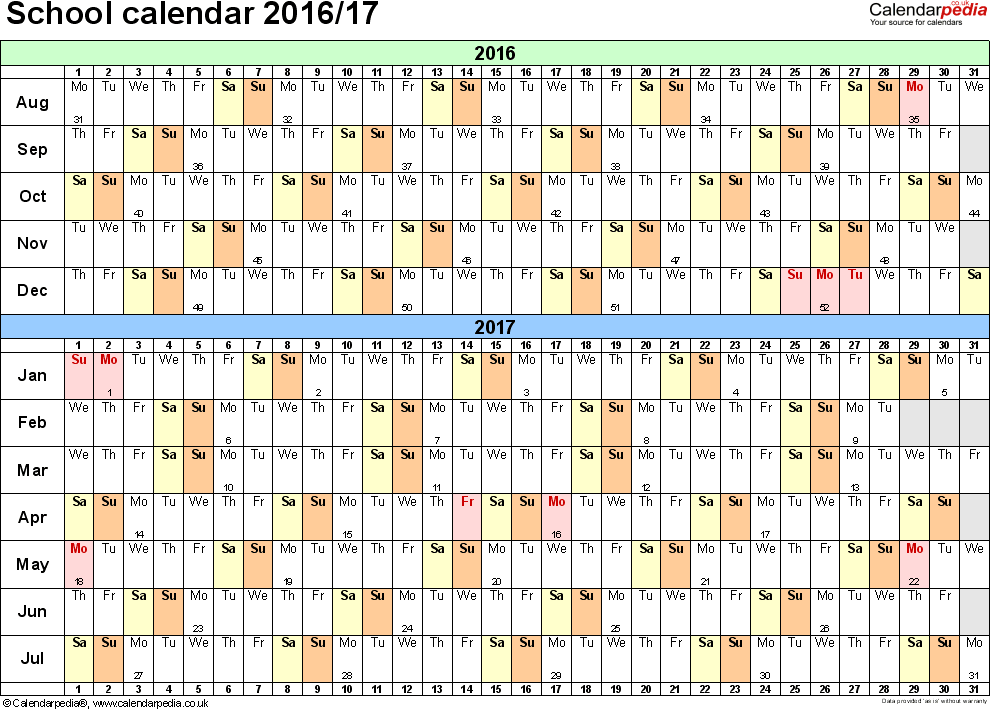Template 2: School year calendars 2016/17 as Excel template, landscape orientation, A4, 1 page, months horizontally, days vertically, with UK bank holidays and week numbers