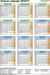Template 5: School year calendars 2016/17 as Excel template, portrait orientation, one A4 page