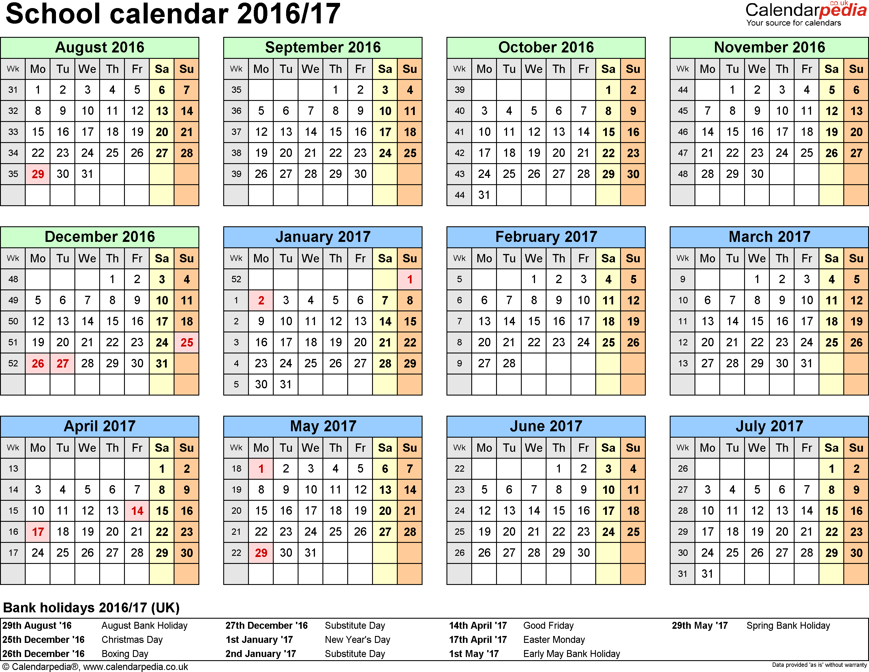 Template 4: School year calendars 2016/17 as Excel template, year at a glance, 1 page