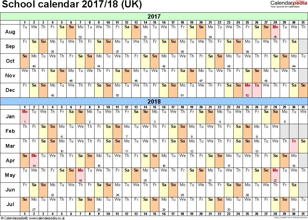 Template 2: School year calendars 2017/18 as PDF template, landscape orientation, A4, 1 page, months horizontally, days vertically, with UK bank holidays and week numbers
