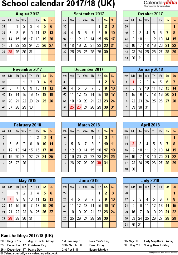 Template 6: School year calendars 2017/18 as Word template, portrait orientation, one A4 page