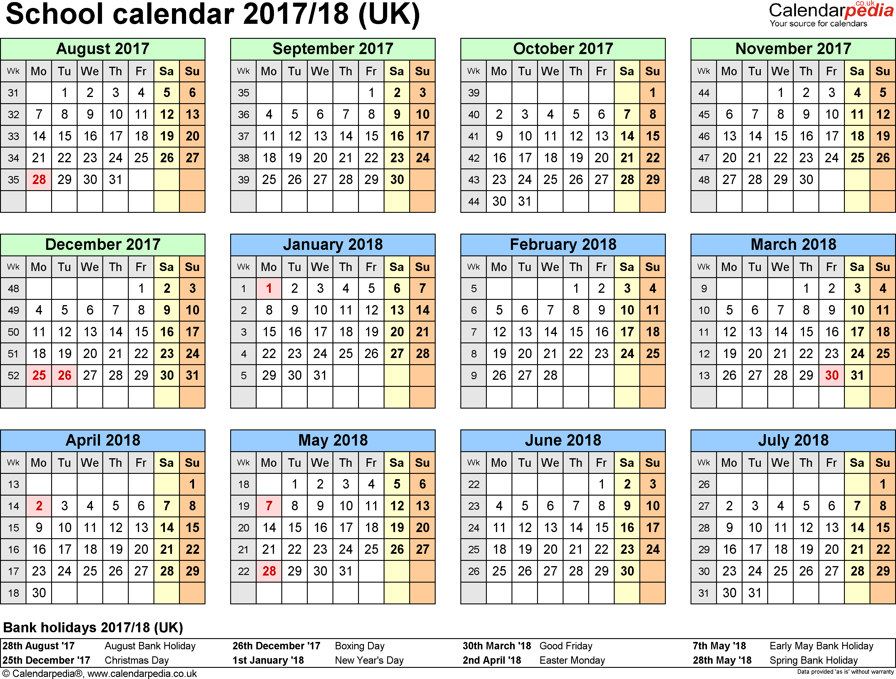 Template 4: School year calendars 2017/18 as PDF template, year overview, 1 page