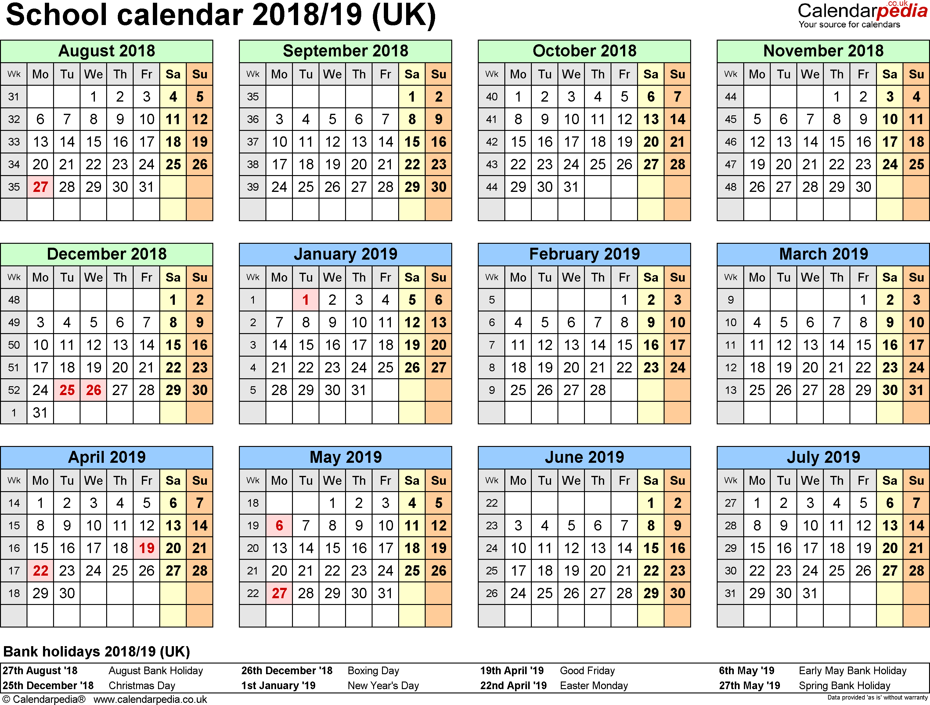 Template 1: School year calendars 2018/19 as Excel template, landscape orientation, A4, 1 page, months horizontally, days vertically, with UK bank holidays and week numbers