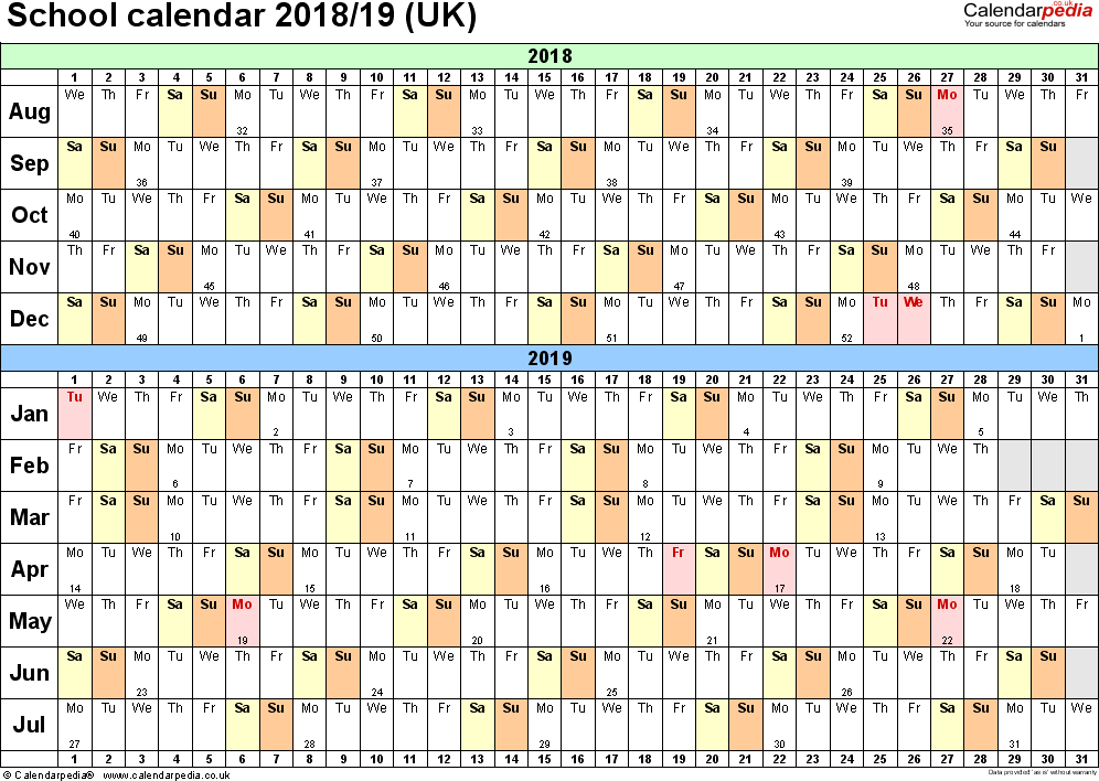 Template 2: School year calendars 2018/19 as PDF template, landscape orientation, A4, 1 page, months horizontally, days vertically, with UK bank holidays and week numbers