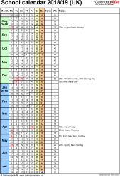 Template 7: School year calendars 2018/19 as Excel template, portrait orientation, 1 page, with UK bank holidays, days in continuous (rolling) layout