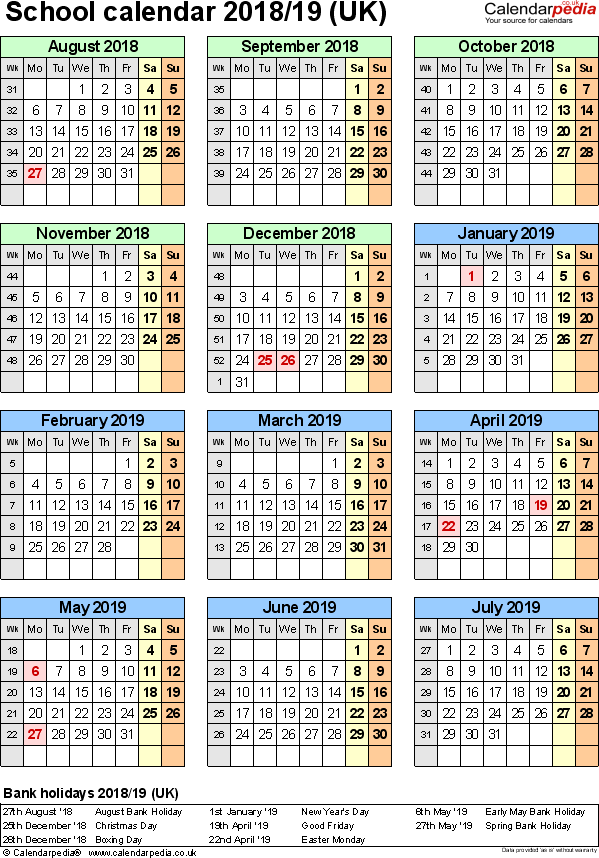 Template 6: School year calendars 2018/19 as Word template, portrait orientation, one A4 page