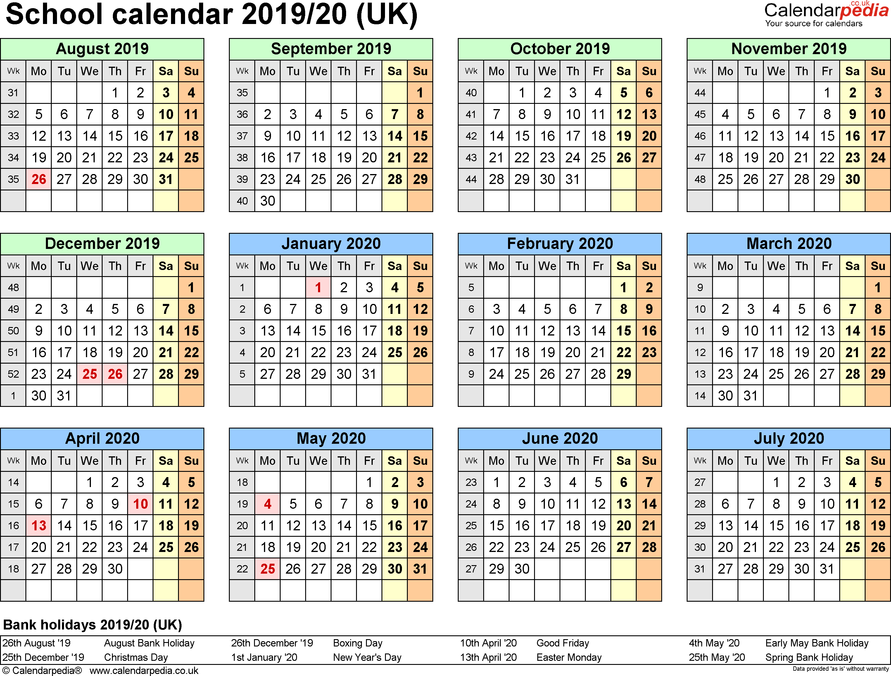 Template 4: School year calendars 2019/20 as PDF template, year at a glance, 1 page