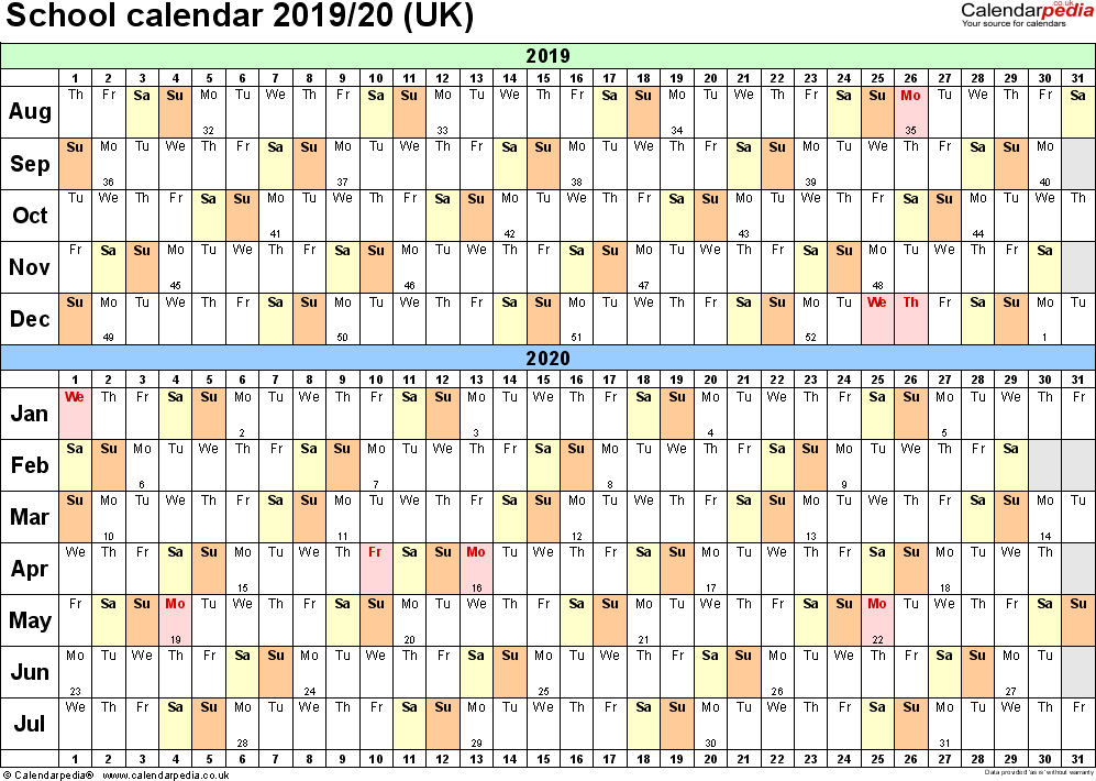 Template 2: School year calendars 2019/20 as PDF template, landscape orientation, A4, 1 page, months horizontally, days vertically, with UK bank holidays and week numbers