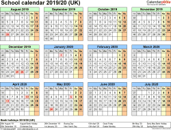 Download Template 4: School year calendars 2019/20 for PDF, year at a glance, 1 page