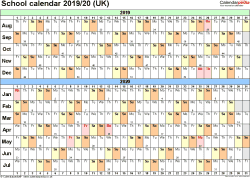 Download Template 3: School year calendars 2019/20 for PDF, landscape orientation, A4, 1 page, months horizontally, days vertically, with UK bank holidays and week numbers