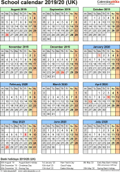 Template 6: School year calendars 2019/20 as PDF template, portrait orientation, one A4 page