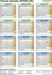 Template 5: School year calendars 2019/20 as PDF template, portrait orientation, one A4 page