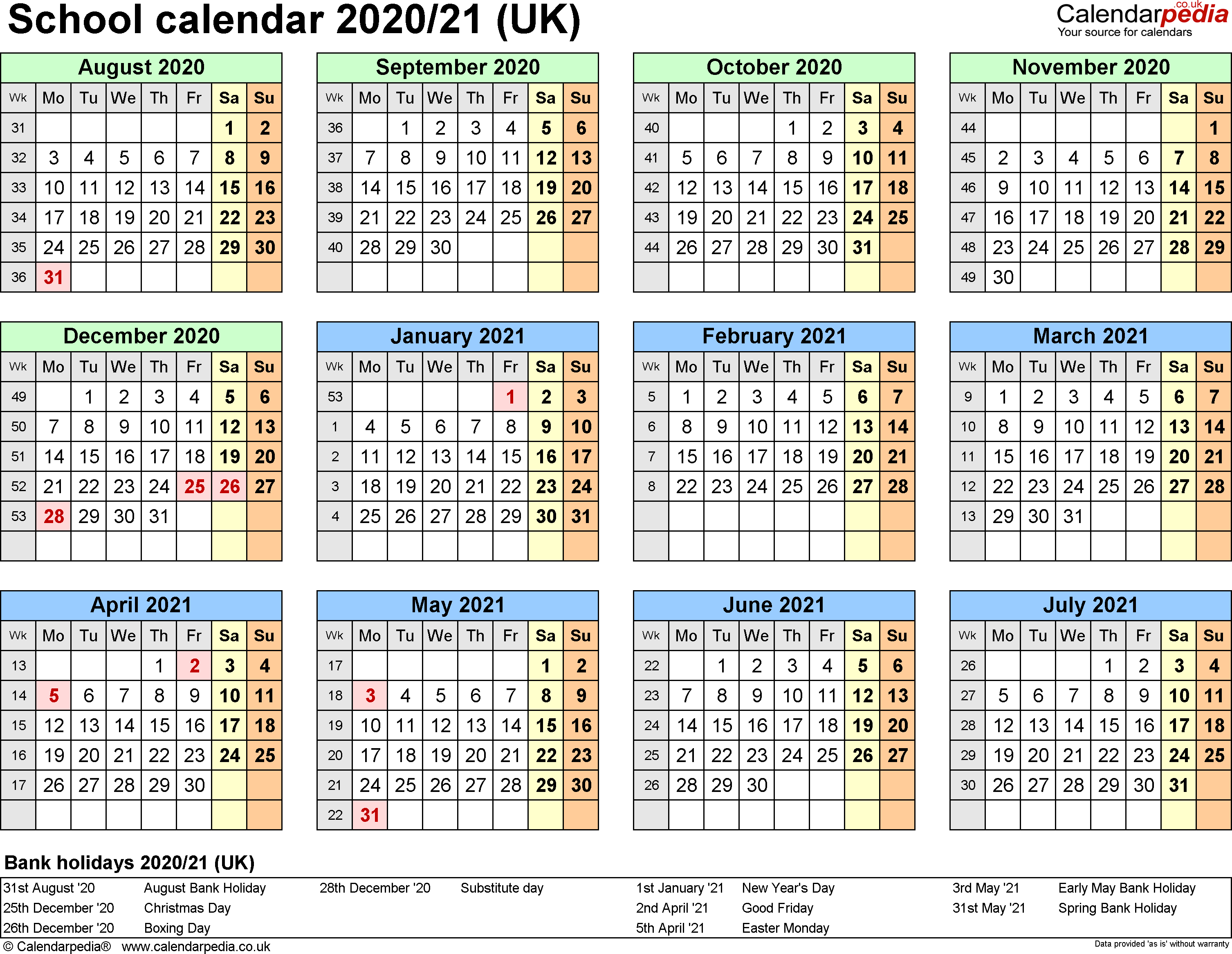 Template 4: School year calendars 2020/21 as Excel template, year at a glance, 1 page