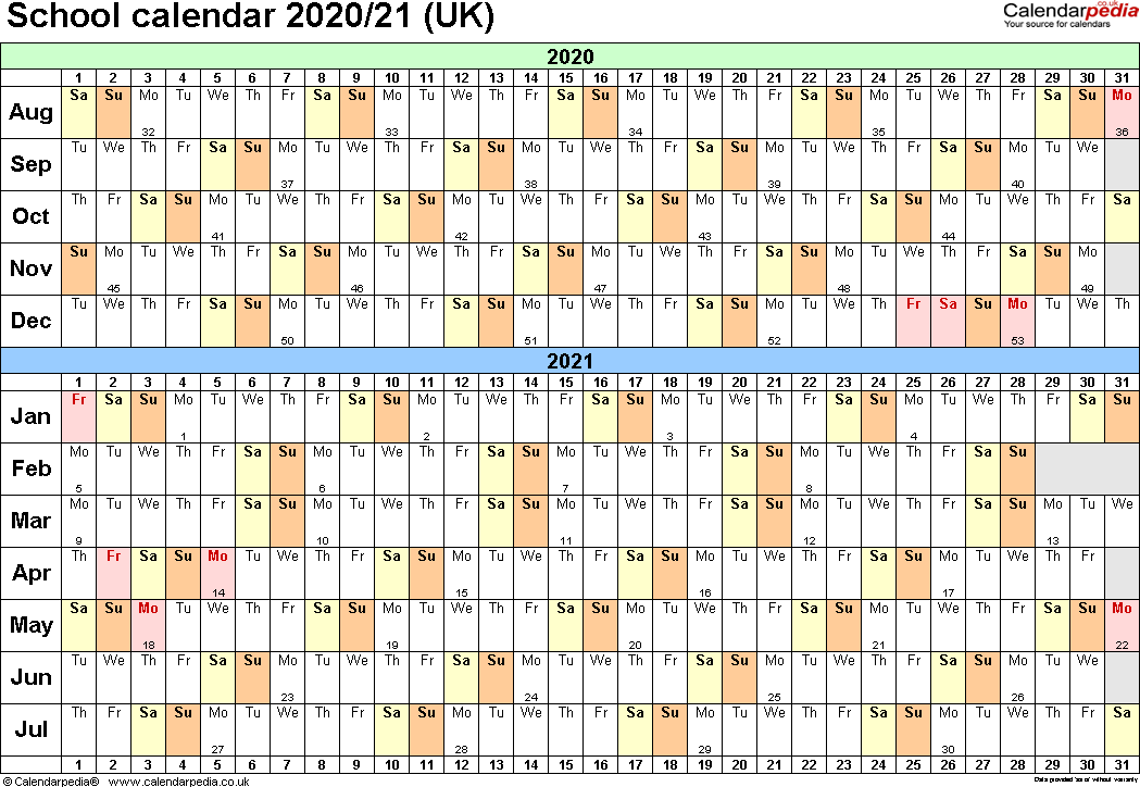 Template 2: School year calendars 2020/21 as Excel template, landscape orientation, A4, 1 page, months horizontally, days vertically, with UK bank holidays and week numbers