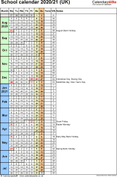 Template 7: School year calendars 2020/21 as Excel template, portrait orientation, 1 page, with UK bank holidays, days in continuous (rolling) layout