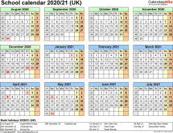 Template 4: School year calendars 2020/21 as PDF template, year at a glance, 1 page