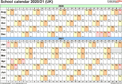 Template 2: School year calendars 2020/21 as PDF template, landscape orientation, A4, 1 page, months horizontally, days vertically, with UK bank holidays and week numbers