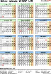 Template 5: School year calendars 2020/21 as Excel template, portrait orientation, one A4 page