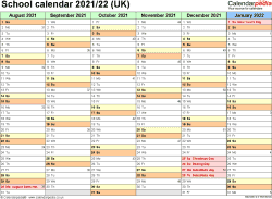 Download Template 2: School year calendars 2021/22 for PDF, landscape orientation, 2 pages, months horizontally, days vertically, with UK bank holidays and week numbers