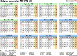 Download Template 4: School year calendars 2021/22 for Microsoft Excel, year at a glance, 1 page