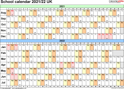 Download Template 3: School year calendars 2021/22 for Microsoft Excel, landscape orientation, A4, 1 page, months horizontally, days vertically, with UK bank holidays and week numbers