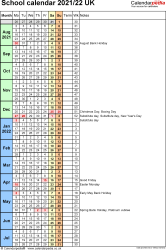 Download Template 8: School year calendars 2021/22 for PDF, portrait orientation, 1 page, with UK bank holidays, days in continuous (rolling) layout