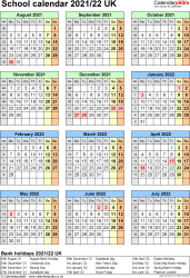 Download Template 7: School year calendars 2021/22 for PDF, portrait orientation, one A4 page