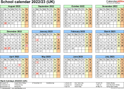 Download Template 4: School year calendars 2022/23 for PDF, year at a glance, 1 page