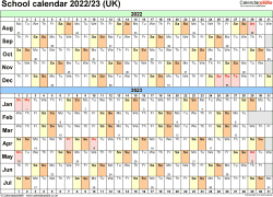 Download Template 3: School year calendars 2022/23 for Microsoft Word, landscape orientation, A4, 1 page, months horizontally, days vertically, with UK bank holidays and week numbers
