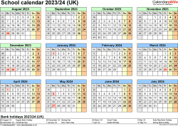 Download Template 4: School year calendars 2023/24 for Microsoft Word, year at a glance, 1 page