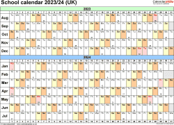 Download Template 3: School year calendars 2023/24 for PDF, landscape orientation, A4, 1 page, months horizontally, days vertically, with UK bank holidays and week numbers