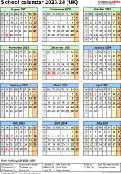 Download Template 7: School year calendars 2023/24 for Microsoft Word, portrait orientation, one A4 page