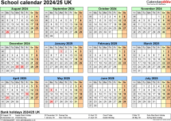 Download Template 4: School year calendars 2024/25 for Microsoft Excel, year at a glance, 1 page