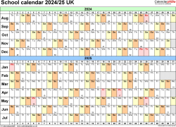 Download Template 3: School year calendars 2024/25 for Microsoft Excel, landscape orientation, A4, 1 page, months horizontally, days vertically, with UK bank holidays and week numbers
