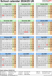 Download Template 7: School year calendars 2024/25 for Microsoft Excel, portrait orientation, one A4 page