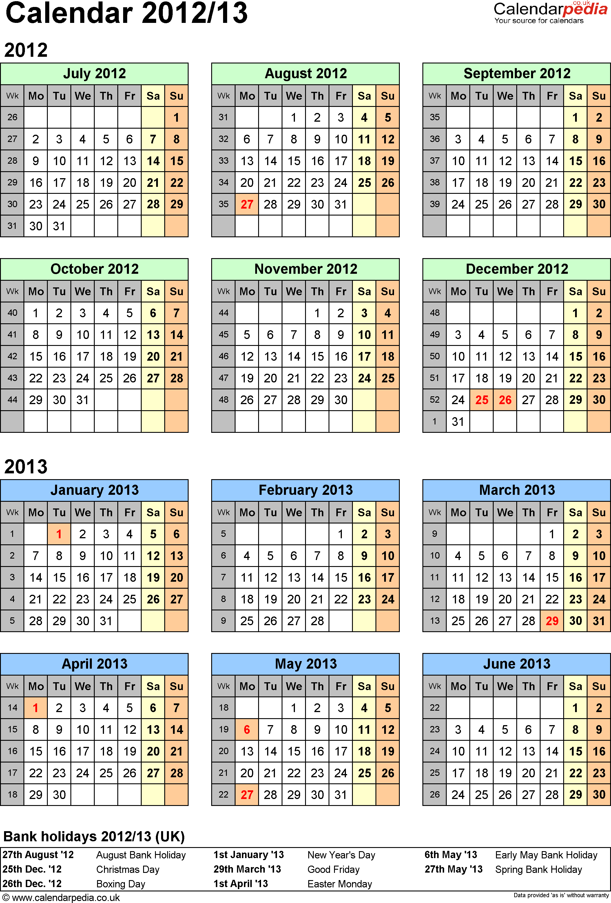Template 2: Word template for split year calendar 2012/2013 (portrait orientation, 1 page, A4)