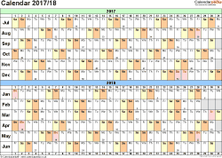 Template 2: PDF template for split year calendar 2017/2018 (landscape orientation, 1 page, A4)